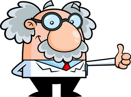 Smiling Science Professor Cartoon Character Showing Thumbs Up. Vector Hand Drawn Illustration Isolated On Transparent Background