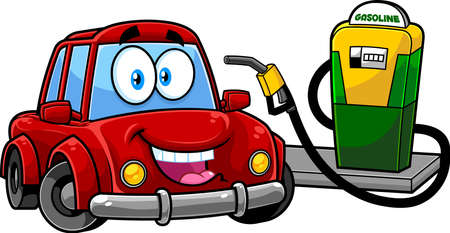 Happy Cute Car Cartoon Character At Gas Station Being Filled With Fuel. Vector Hand Drawn Illustration Isolated On Transparent Background