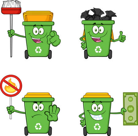 Recycling Bins Cartoon Characters. Vector Collection Set Isolated On White Background