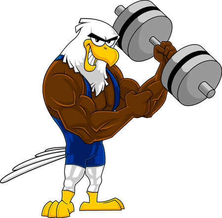 Smiling Eagle Bodybuilder Cartoon Character With Big Dumbbell. Vector Hand Drawn Illustration Isolated On Transparent Background Ilustración de vector