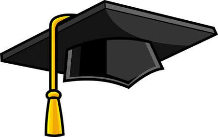 Cartoon Graduation Cap. Vector Hand Drawn Illustration Isolated On Transparent Background Vettoriali