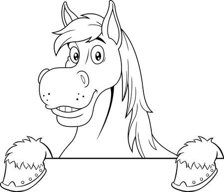 Outlined Horse Cartoon Mascot Character Over A Blank Sign Board. Vector Hand Drawn Illustration Isolated On Transparent Background Vecteurs