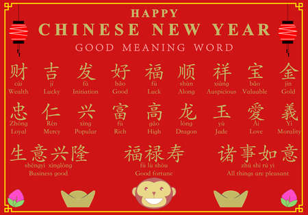 favorable: Chinese new year background good meaning word decoration, vector illustration, red and gold