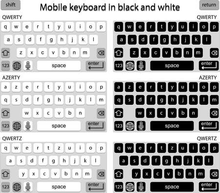 input device: Phone keyboard in black and white, smart phone keypad, mobile phone key text