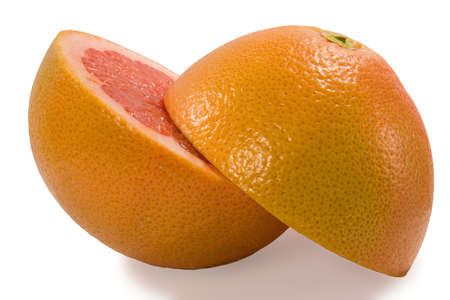 progeny: Couple halves of grapefruit isolated on white background with clipping path Stock Photo