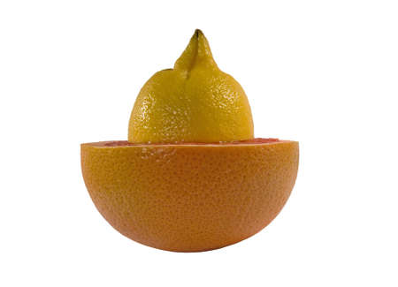 progeny: Grapefruit and lemon isolated on white background with clipping path
