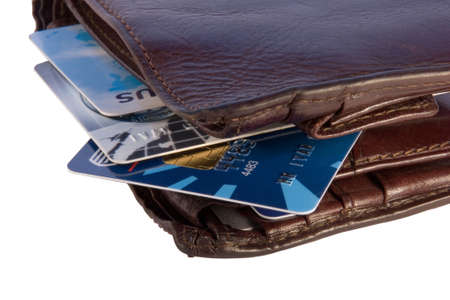 creditcards: Wallet with credit cards inside, isolated on white background with clipping path