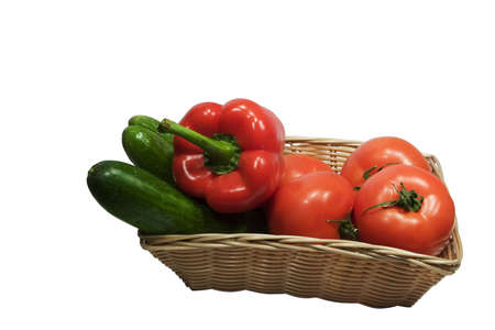 Basket with vegetables on white background Stock Photo - 291208