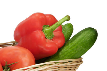 Basket with vegetables on white background with Stock Photo - 300532
