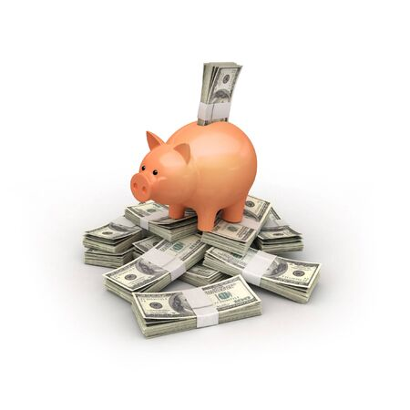pig with money on white isolated. 3d render photo