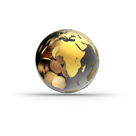 global currencies: money globe isolated on white background. 3d render