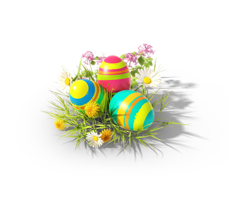 Easter eggs on an isolated white background photo