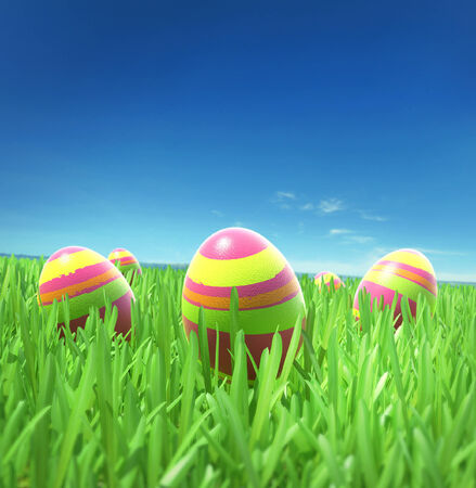 Easter eggs on the grass under sky photo