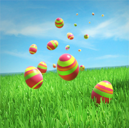 Easter eggs are falling on the grass under sky photo