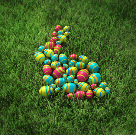 Easter bunny of eggs on the grass photo