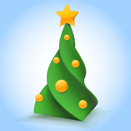 congradulations: Stylish Christmas tree with toys glossy vector object