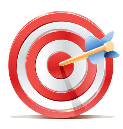 Red darts target aim and arrow  Successful shoot  No transparency - only gradient Stock Vector - 17775539