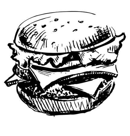 hamburguesa: Hamburguesa jugosa deliciosa Vectores