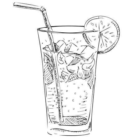 ice tea: Soda glass with citrus segment and ice cubes Illustration