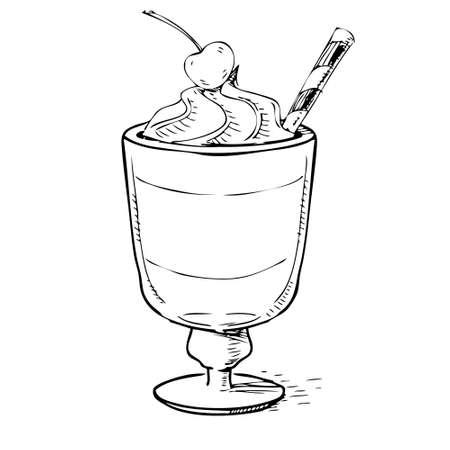 milk shake: Creamy milk shake with cherry and foam