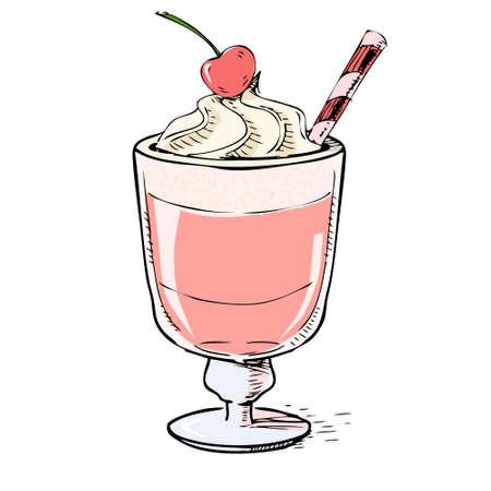 cremoso: Milk shake cremoso com cereja e espuma