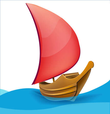 Romantic boat with red sail Stock Vector - 18010678