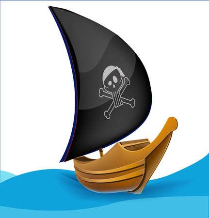barca a vela: Veliero con il simbolo dei pirati Vettoriali