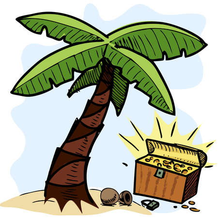 Palm tree and pirate chest on the seashore Vector