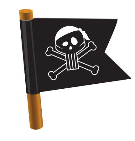 Black flag with pirate symbol Stock Vector - 18010616