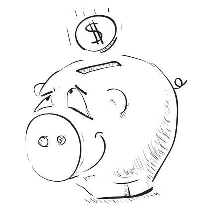 Money cartoon pig money box sketch icon Vector