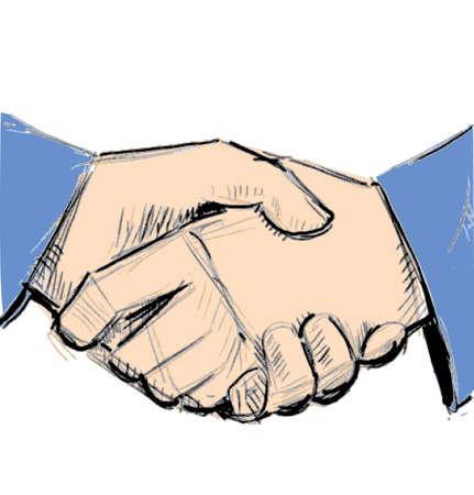 manos unidas: Negocio apretón de manos entre dos personas Vectores