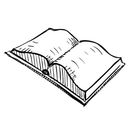 Open book sketch icon illustration