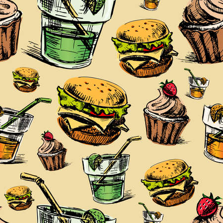 Fast food colorful seamless pattern Vector