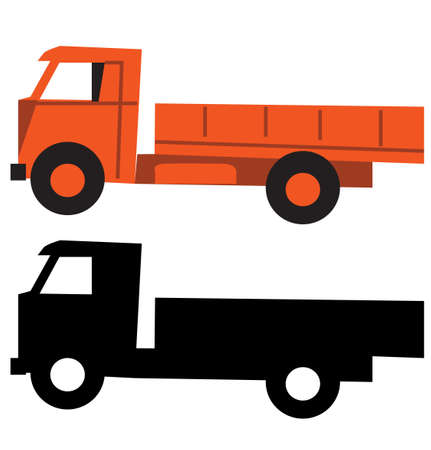 Truck cartoon silhouette vector illustration Vector