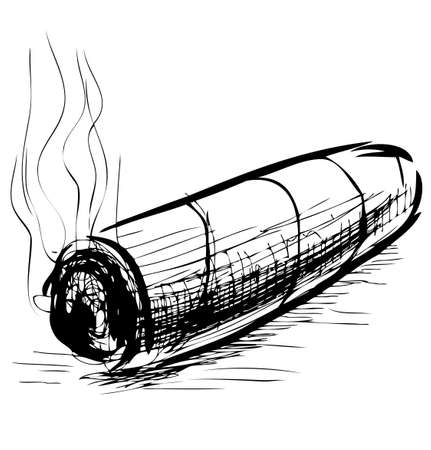 Lighting cigar sketch vector illustration Ilustração