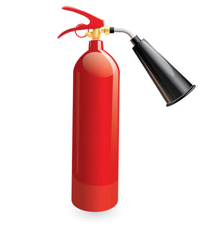 glossiness: Red metal glossiness fire extinguisher