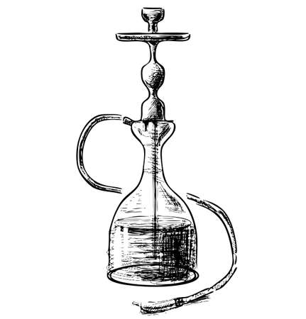 peace pipe: Hookah on white background Illustration