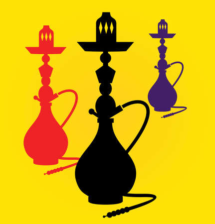 peace pipe:  illustration of different colors hookahs Illustration