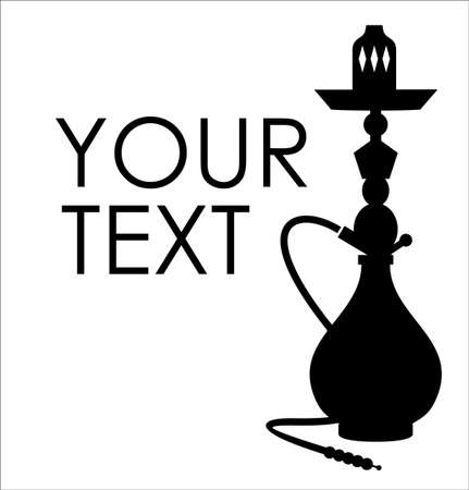 Hookah silhouette with sample text Illustration