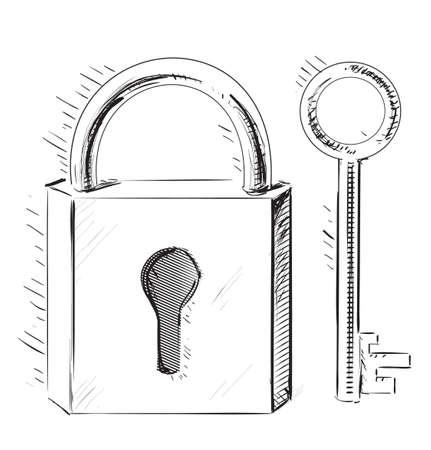 door lock: Door lock and key Illustration