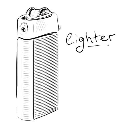igniter: Lighter cartoon sketch vector illustration