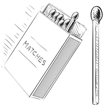 box of matches: Matches and box sketch doodle icon