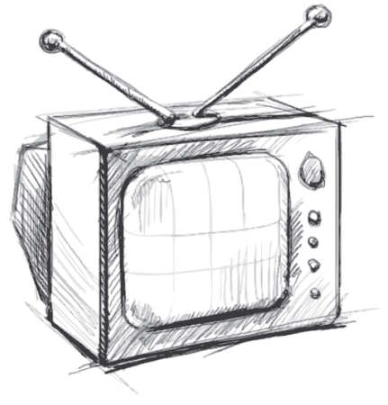 outmoded: Retro tv with antenna
