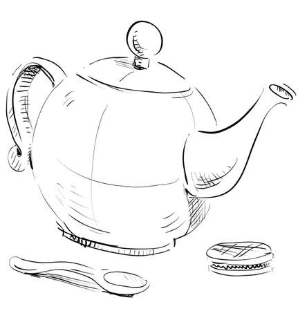 teakettle: Kettle, spoon and biscuit Illustration