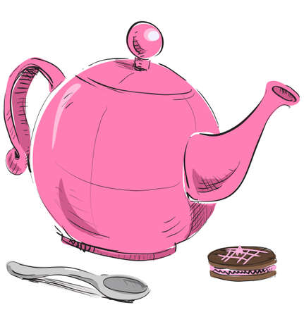 Kettle, spoon and biscuit Vector