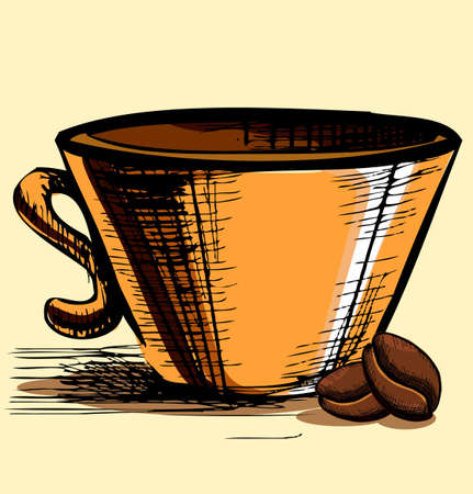 Cup with two coffee beans Stock Vector - 18269466