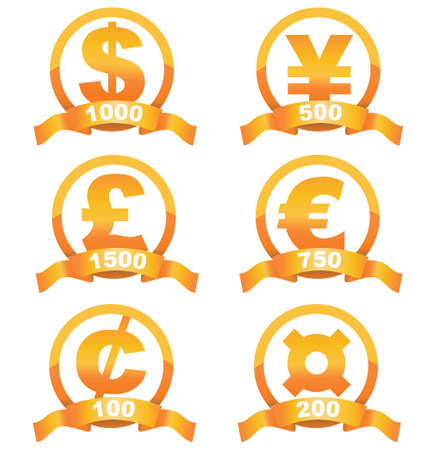 gold bar earn: Currency signs golden set