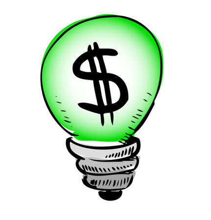 Green light bulb with dollar symbol inside Illustration