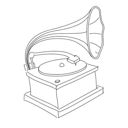 Vintage gramophone isolated on white Stock Vector - 18269543
