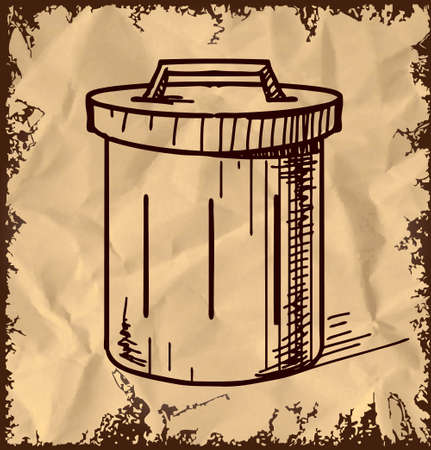 Outdoor trash bin isolated on vintage background Stock Vector - 18269547